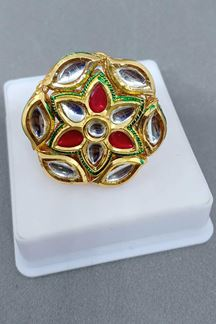 Picture of Red & green detailed stone finger ring