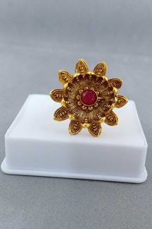 Picture of Pink stone enriched designer finger ring