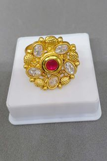 Picture of Catchy pink stone studded finger ring