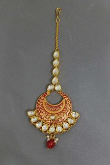 Picture of Alluring red & gold plate maang tikka
