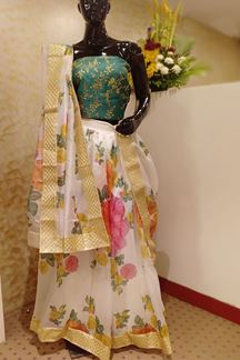 Picture of Quirky green & cream designer lehenga