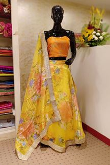 Picture of Transitional orange & yellow lehenga set