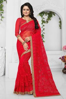 Picture of Striking red designer saree with resham