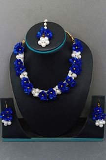 Picture of Splendid blue & white designer necklace set
