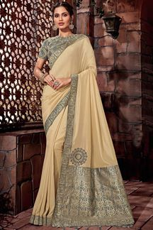 Picture of Fetching cream colored designer saree