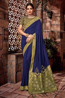 Picture of Magical deep blue designer artistic saree