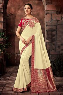 Picture of Angelic cream colored designer saree