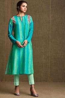 Picture of Blue & green striped designer kurti
