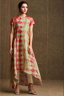 Picture of Pastel green & pink designer kurti