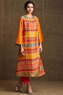 Picture of Classy red & yellow designer kurti