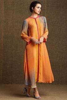 Picture of Yellow & orange shaded designer kurti