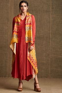 Picture of Classic red kurti with yellow jacket