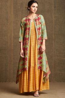 Picture of Green & Yellow designer long kurti