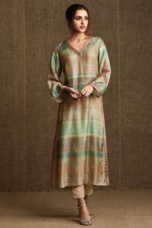 Picture of Sassy green & orange print designer kurti
