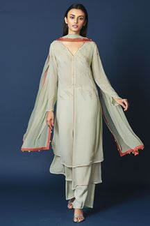 Picture of Magical pista green designer straight suit