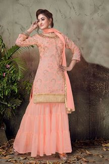 Picture of Refreshing peach color designer gharara