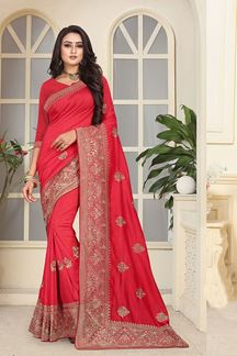 Picture of Celestial red designer saree with motifs