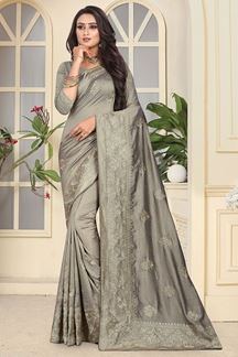Picture of Modish grey designer saree with motifs
