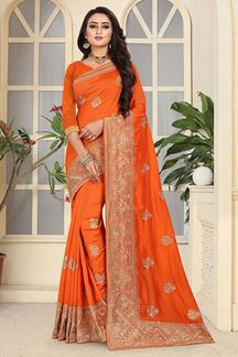 Picture of Glamorous orange designer saree