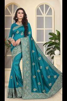 Picture of Glossy blue colored designer saree