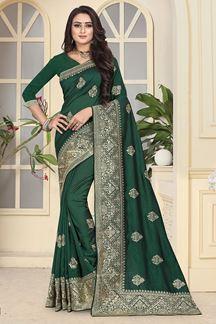 Picture of Stylish dark green designer saree