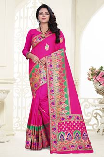 Picture of Dreamy deep pink designer saree with weave