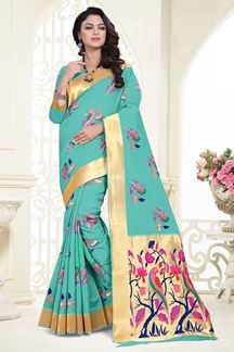 Picture of Unique light green designer saree