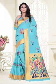 Picture of Peculiar light blue designer saree