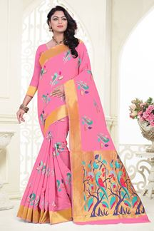 Picture of Trendy pink designer saree with motifs