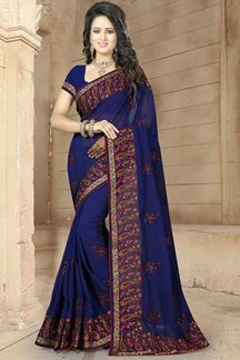 Picture of Signature dark blue designer saree