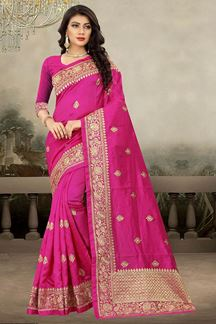 Picture of Tempting pink designer saree with motif