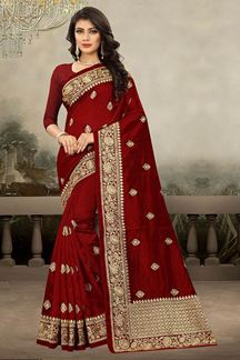 Picture of Classy maroon designer saree with motif