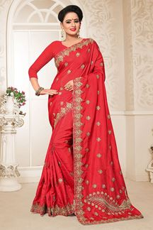 Picture of Amazing Red Colored Partywear Embroidered Two Tone Rajwadi Silk Saree