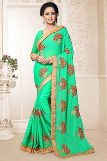 Picture of Stunning Pista Green Festive Wear Chiffon Saree
