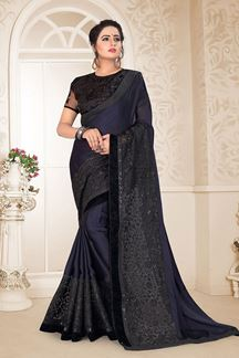 Picture of Breathtaking Blue Colored Partywear Embroidered Satin Georgette Saree