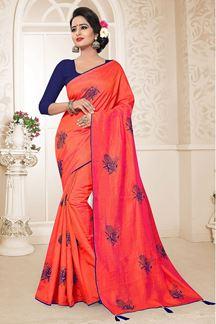 Picture of Blooming Gajari Colored Festive Wear Zoya Silk Saree