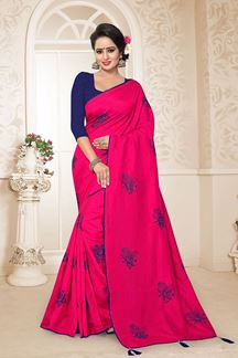 Picture of Capricious Deep Pink Colored Embroidered Party Wear Zoya Silk Saree