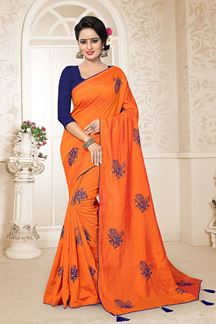 Picture of Deserving Orange Colored Embroidered Party Wear Zoya Silk Saree