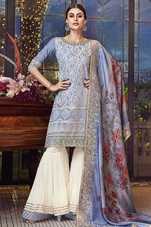 Picture of Entrancing Sky Blue Color Lakhnavi Suit (Unstitched suit)