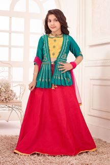 Picture of Mesmeric Green-Yellow Colored Partywear kids Lehenga Choli