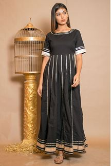 Picture of Black Plain Cotton Designer Kurti