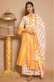 Picture of White & Yellow Cotton Palazzo Suit