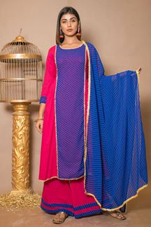 Picture of Pink & blue Designer Palazzo Suit
