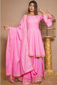 Picture of Pink Plain Cotton Designer Suit with Skirt