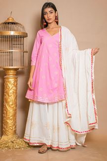 Picture of Pink & White Cotton Designer Suit with Skirt