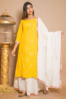 Picture of Yellow & White Cotton Designer Suit with Skirt