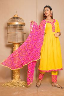 Picture of Yellow & Pink Designer Suit