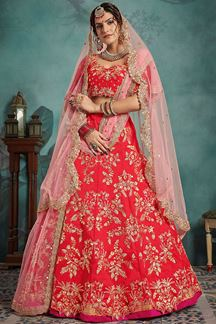 Picture of Fabulous Looking Red Lehenga Choli with Pitta Cut Work