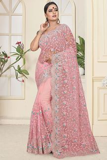Picture of Marvelous Pink Colored Partywear Embroidered Net Saree