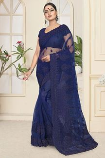 Picture of Classy Blue Colored Partywear Embroidered Net Saree